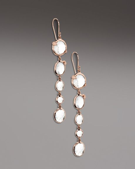 Ippolita Clear Quartz Drop Earrings in Pink (clear) - Lyst