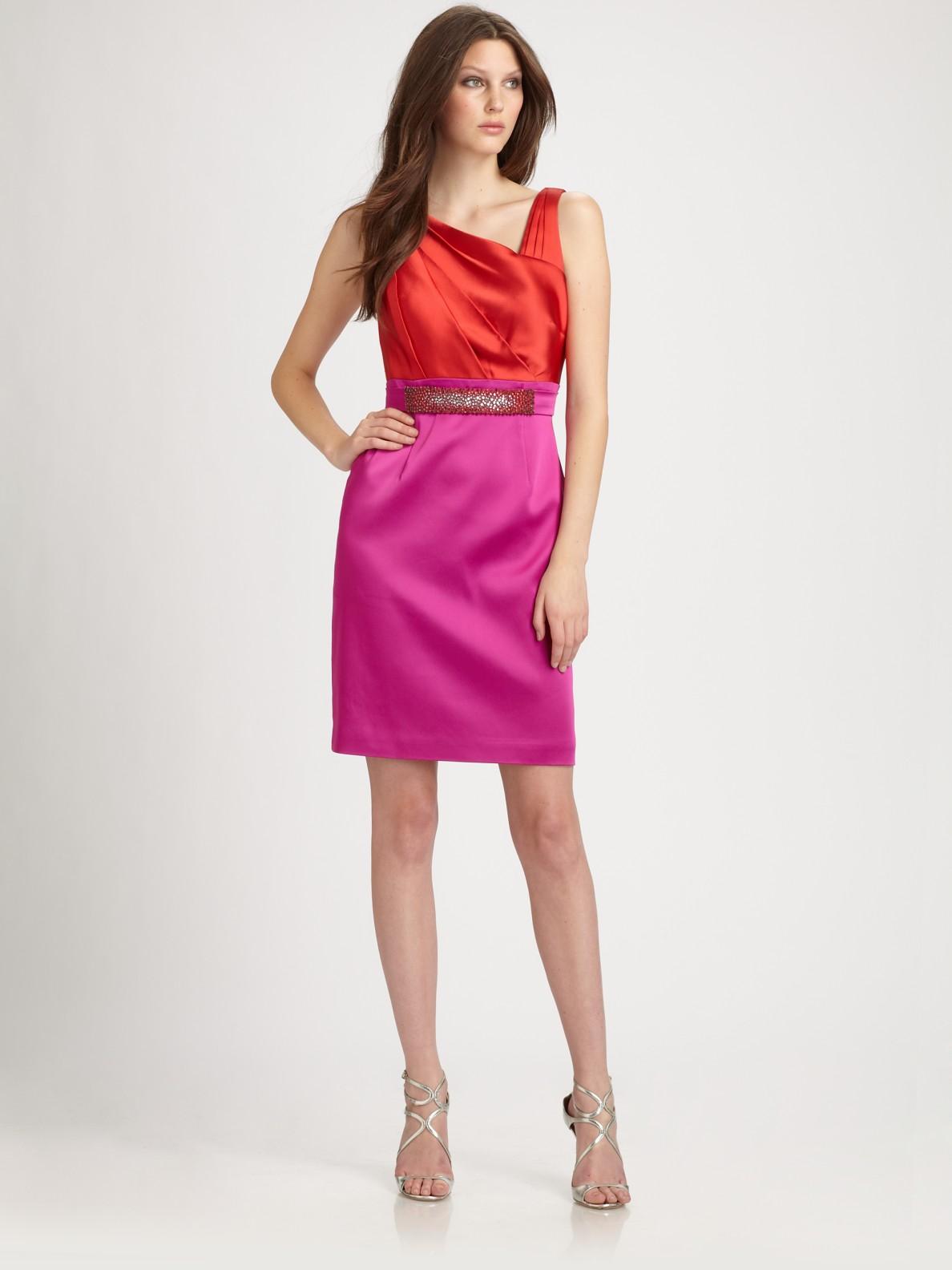 Kay Unger Satin Dress In Purple Raspberry Lyst