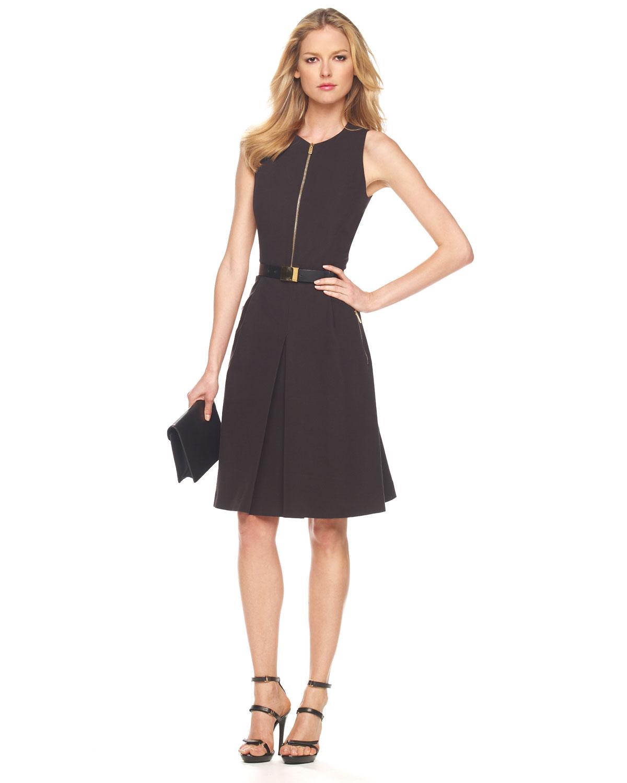 Lyst - Michael Kors Broadcloth Zip Dress in Black