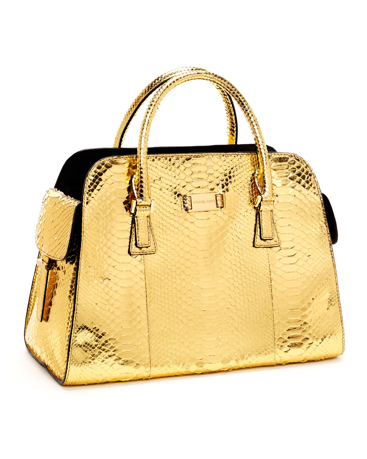 c8afe1a497dd Michael Kors Gia Satchel, Gold Python in Metallic - Lyst
