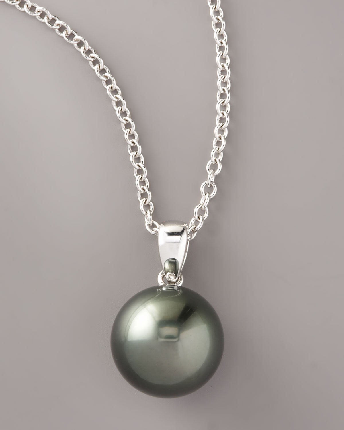 whitegold aubergine pearl necklace aaa dark tahitian sterling true silver black darkblack south frontview sea x