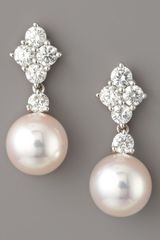 Mikimoto Diamond & Pearl Drop Earrings - Lyst
