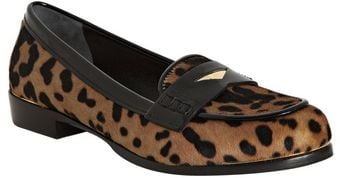 Miu Miu Tan and Black Leopard Print Pony Hair Loafers - Lyst