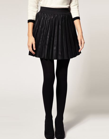 oasis faux leather pleated mini skirt in black lyst