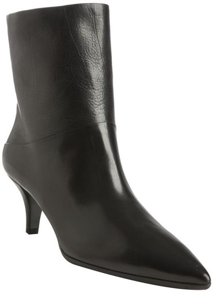 prada black leather pointed toe kitten heel boots in black