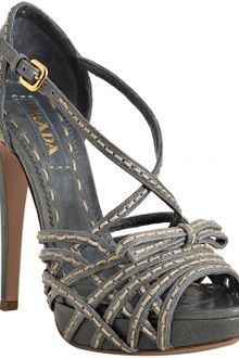 Prada Blue Stitched Leather Strappy Bow Detail Heels - Lyst