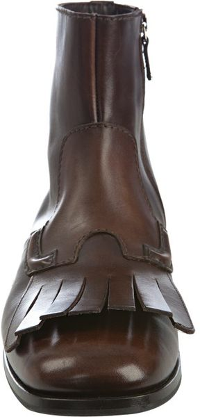 Prada Brown Leather Fringe Detail Ankle Boots In Brown For