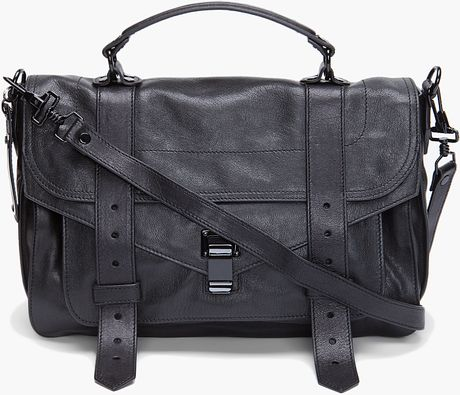 Proenza Schouler Ps1 Medium Leather Satchel in Black - Lyst