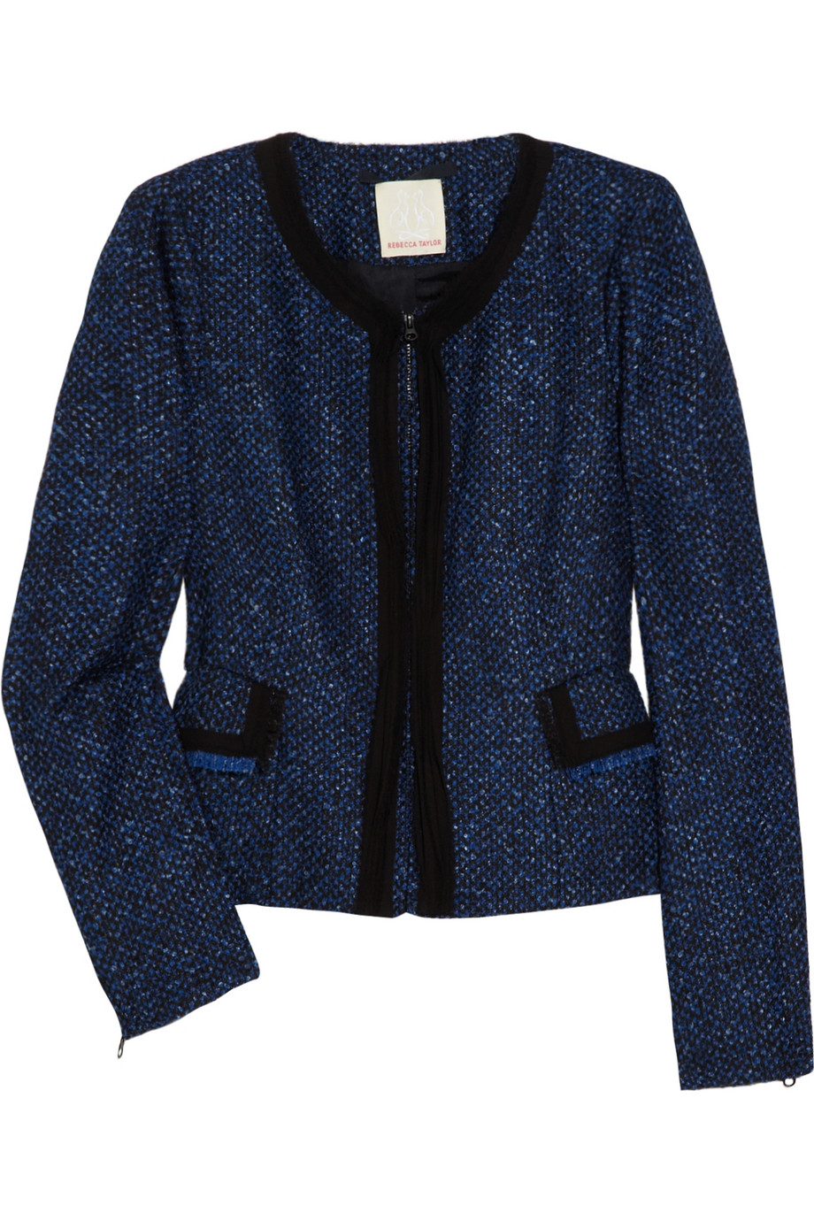 Lyst Rebecca Taylor Contrast Boucl 233 Jacket In Blue