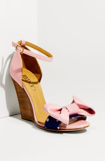 RED Valentino Polka Dot Wedge Sandal - Lyst