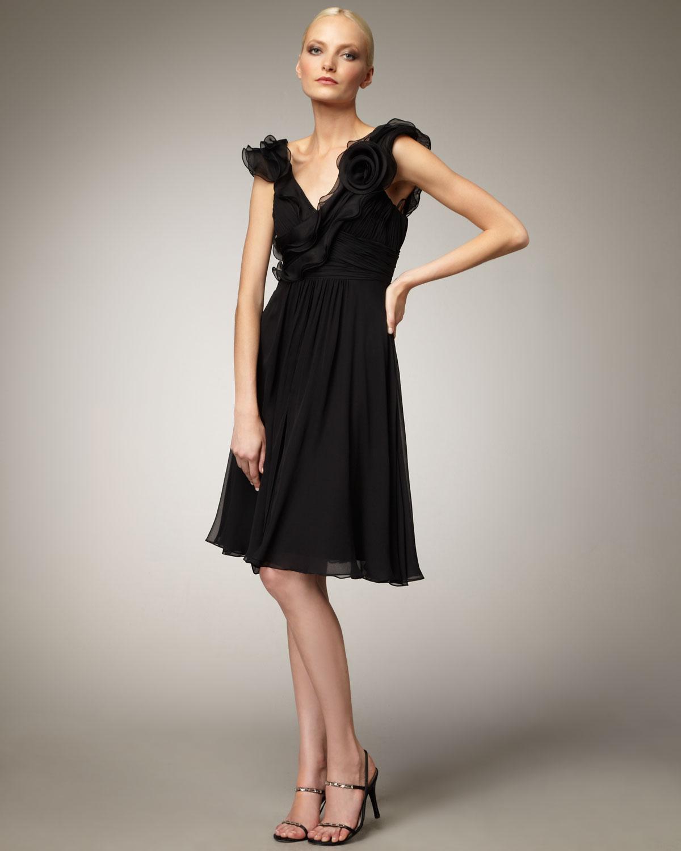Teri Jon Chiffon Cocktail Dress In Black Lyst