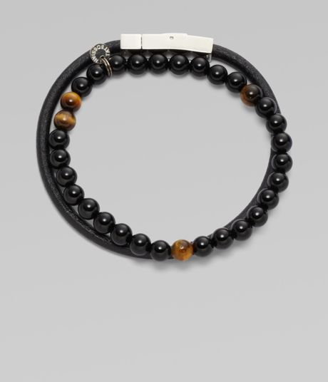 saks fifth avenue beaded bracelet set in black for men lyst