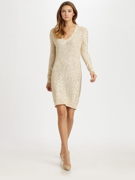 Stella Mccartney Sequined Sweater Dress in White - Lyst