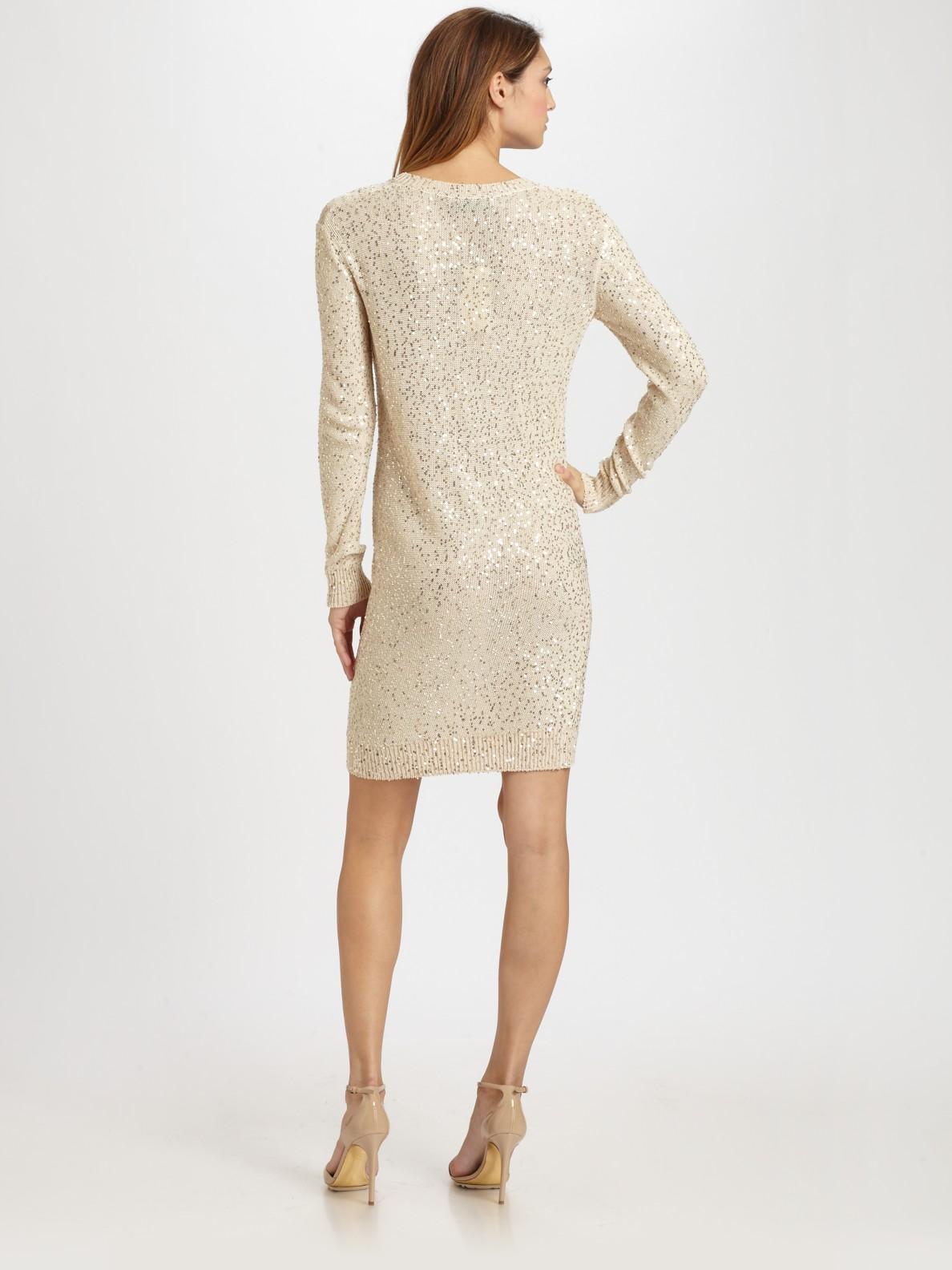 d127c8316f Stella McCartney Sequined Sweater Dress in White - Lyst