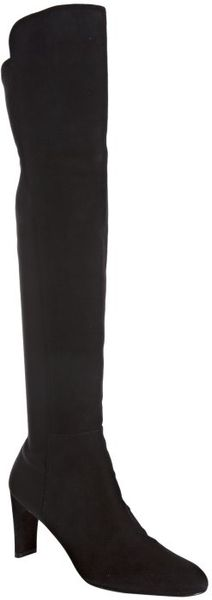 Stuart Weitzman Black Suede Stretch Back Kneehigh Boots in Black - Lyst