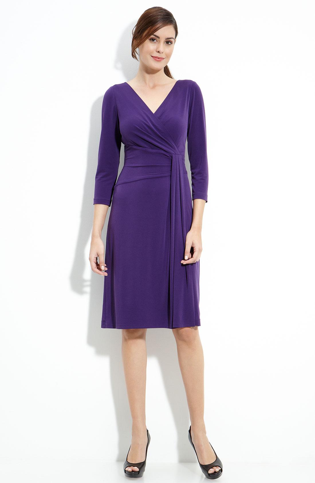 Tahari By Arthur S Levine Faux Wrap Stretch Jersey Dress