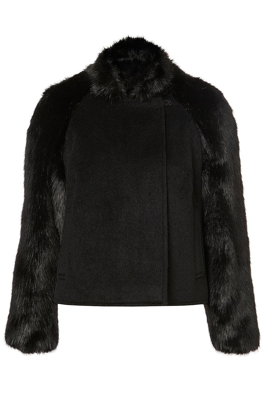 Topshop Cropped Faux Fur Sleeve Coat in Black | Lyst