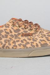 Vans The Authentic Lo Pro Sneaker in Brown Leopard Suede in Brown - Lyst