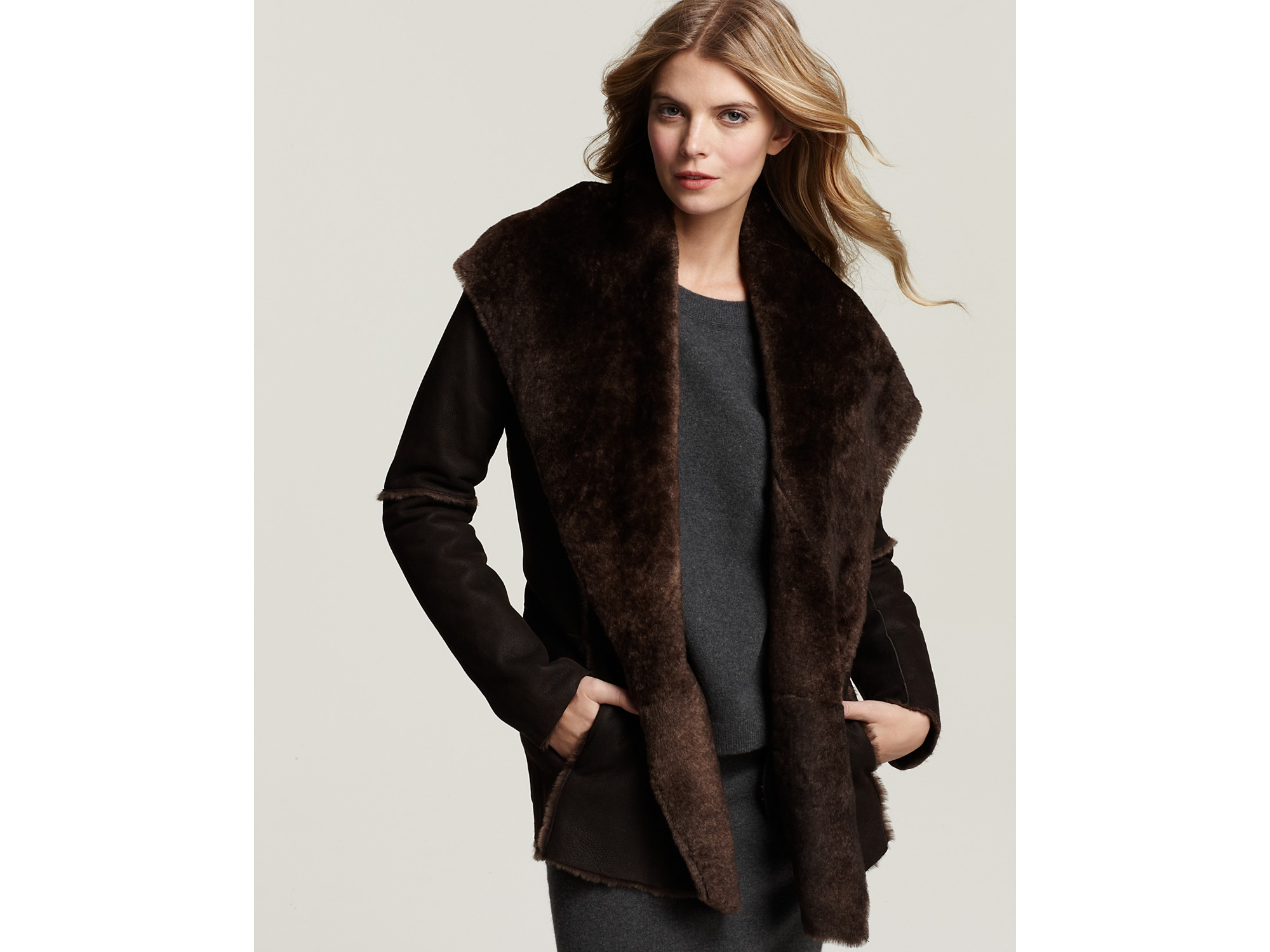 Vince Shearling Hooded Car Coat in Brown   Lyst