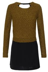 3.1 Phillip Lim Stretch Silk Dress with Attached Knit Sweater - Lyst
