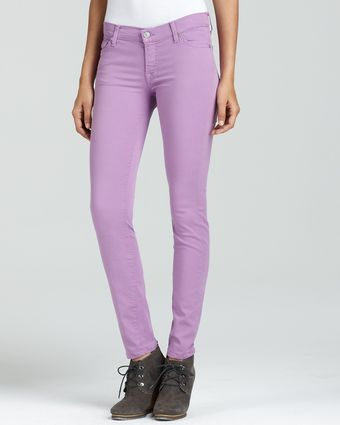 7 For All Mankind Skinny Twill Jeans in Light Purple - Lyst