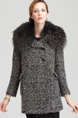 Alice + Olivia Sigourney Fur Collar Double Breasted Coat - Lyst