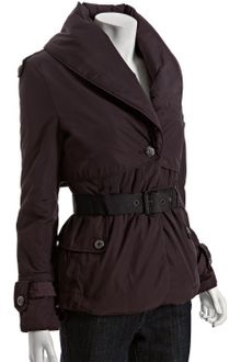 Andrew Marc Plum Shawl Collar Short Belted Down Coat - Lyst