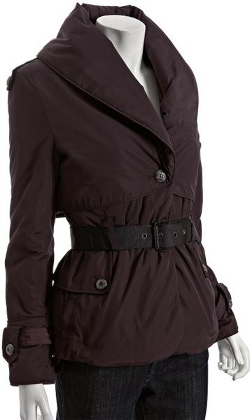 Andrew Marc Plum Shawl Collar Short Belted Down Coat in Purple (plum) - Lyst
