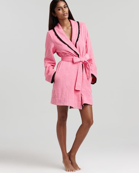 Betsey johnson loop terry robe in pink pink cadillac lyst for Robes de mariage de betsey johnson