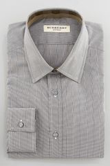 Burberry Micro-check Dress Shirt, Khaki - Lyst