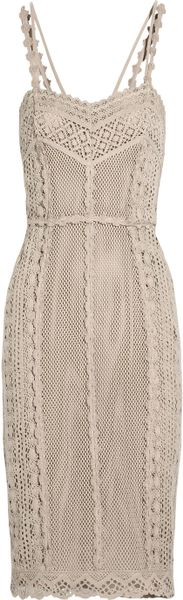 Burberry Prorsum Crocheted Cotton Dress in Beige (white) - Lyst
