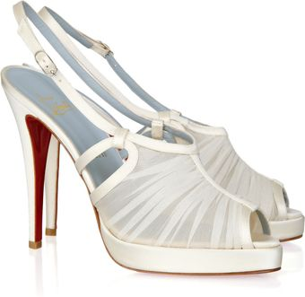 Christian Louboutin Armina 120 Gathered-chiffon Sandals - Lyst