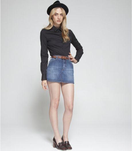 d g blue denim apple pocket mini skirt in blue lyst