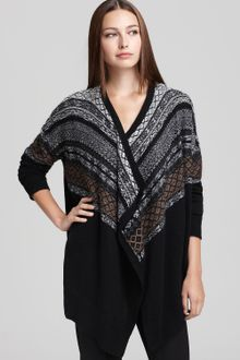 DKNY C Long Sleeve Fair Isle Cardigan - Lyst