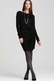 DKNY Long Sleeve Jersey Dress with Side Drape - Lyst