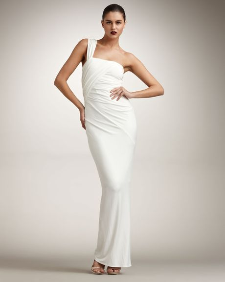 Donna karan new york twist one shoulder gown in white for Donna karan wedding dresses