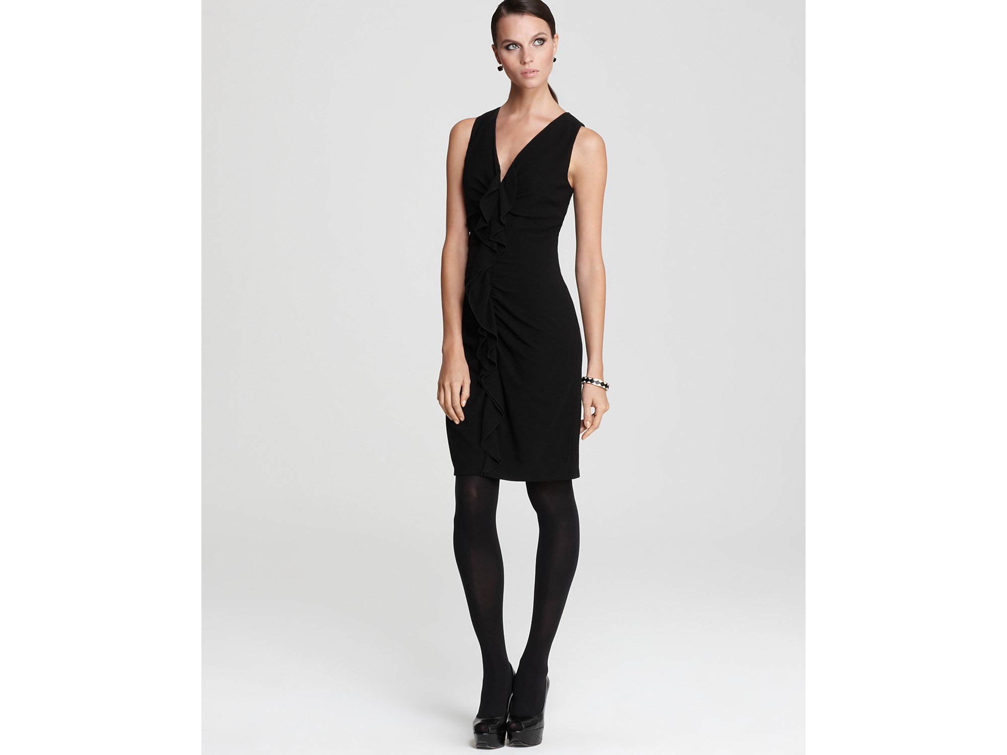 Elie Tahari Anica Ruffle Front Sheath Dress In Black Lyst