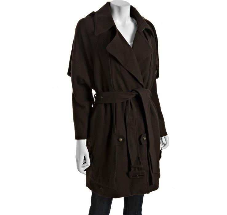 Eryn brinie Chocolate Brown Wool Blend Trench Peacoat in Black | Lyst