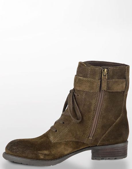 Franco Sarto Priam Suede Ankle Boots In Brown Green Suede