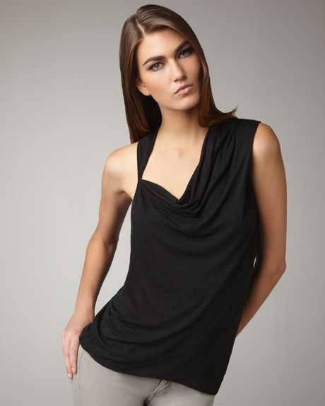 Helmut Lang Asymmetric Draped Tank in Black - Lyst