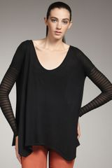 Helmut Lang Sheer-sleeve Top - Lyst