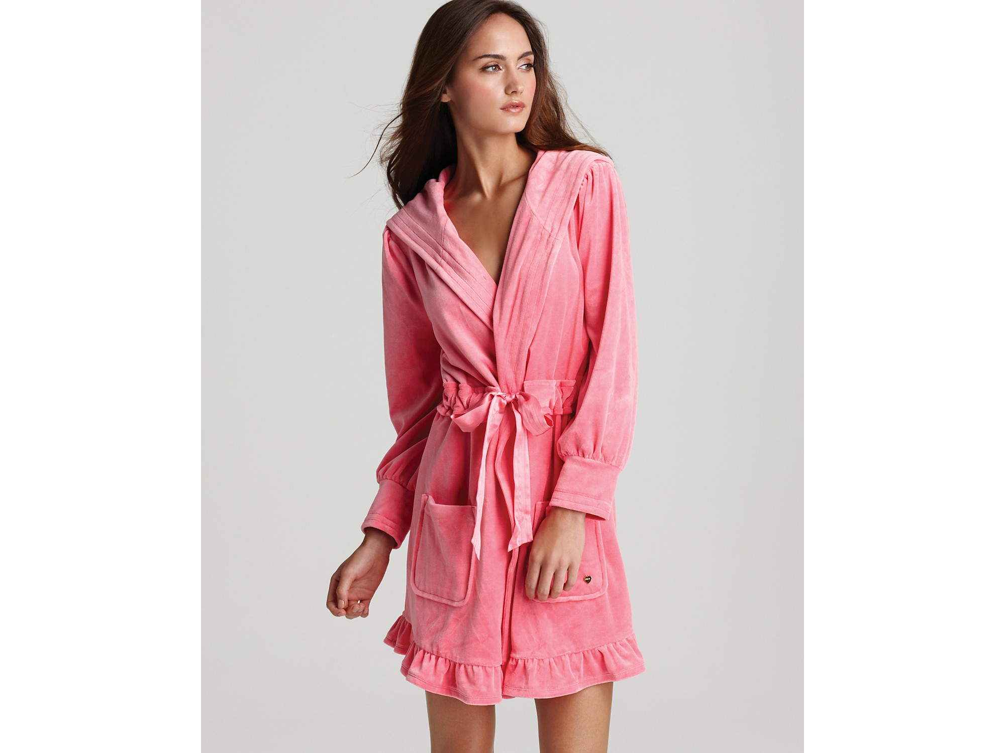 285a39aafc Lyst - Juicy Couture Velour Robe with Tie in Pink