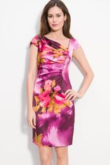 Kay Unger Ruched Stretch Silk Satin Sheath Dress - Lyst