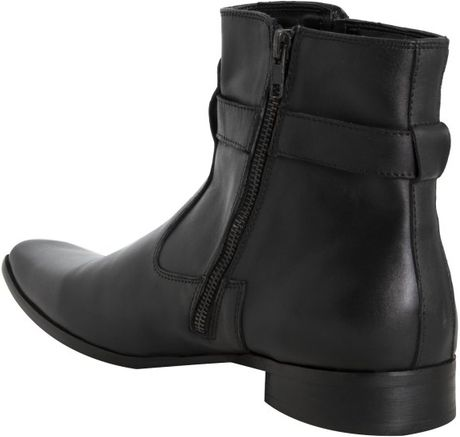 kenneth cole reaction black leather takin note boots