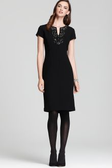 Lafayette 148 New York Cap Sleeve Wool Crepe Dress with Beaded Neck - Lyst