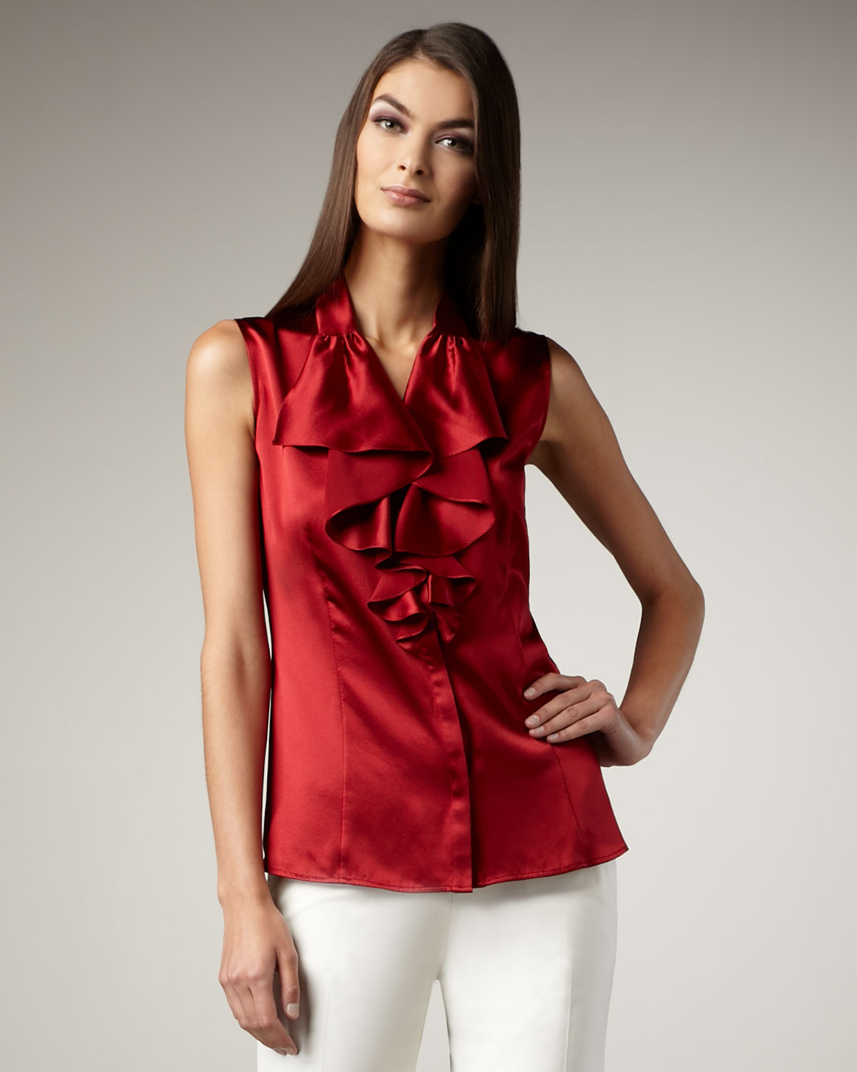 lafayette 148 new york briella ruffled satin blouse in red poppy lyst. Black Bedroom Furniture Sets. Home Design Ideas