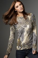 Neiman Marcus Mixed Animal-print Sweater - Lyst