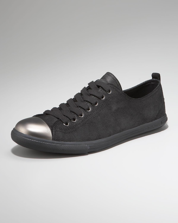 Prada Steel Toe Sneaker In Black For Men Lyst