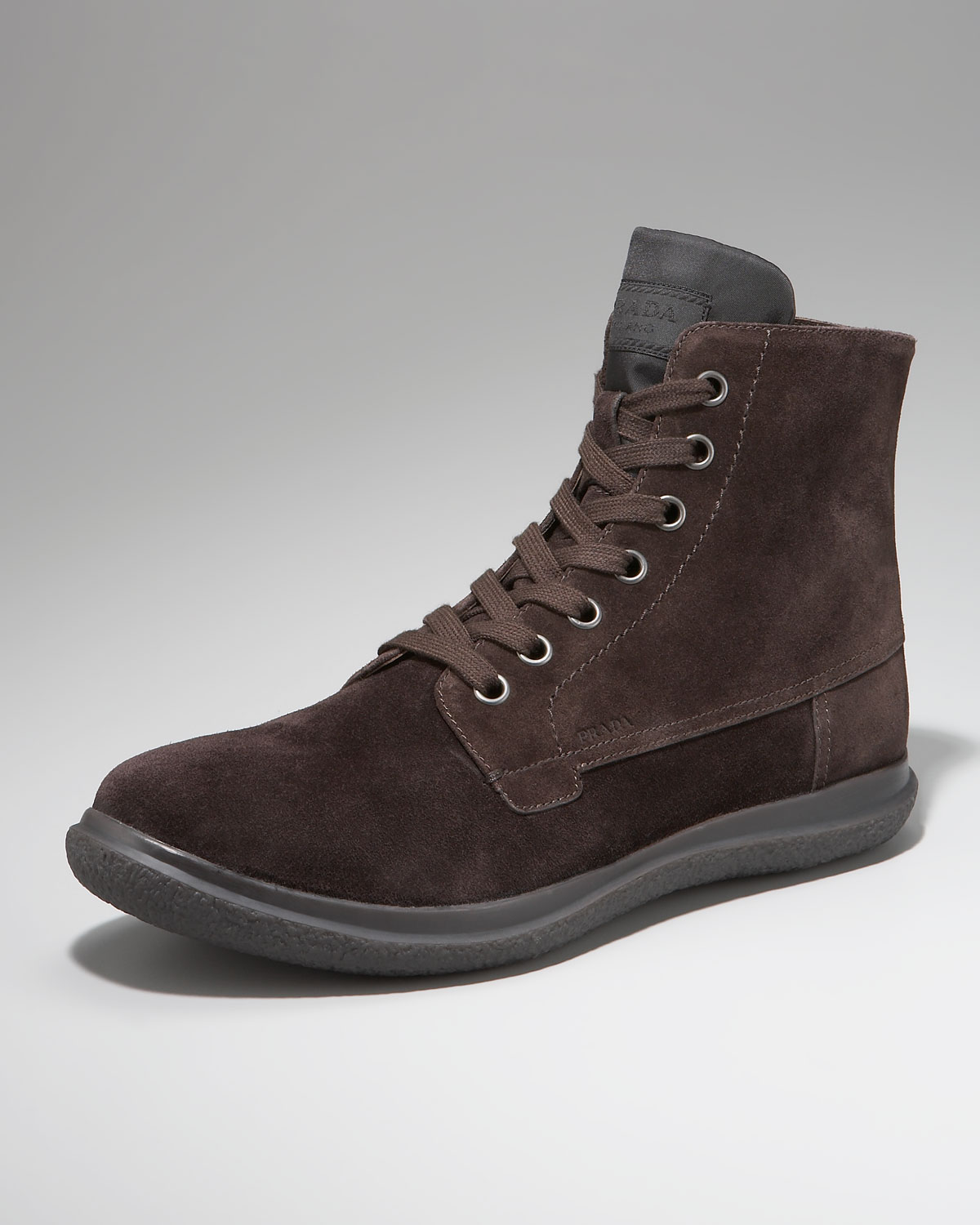 prada suede boot chocolate in brown for black lyst