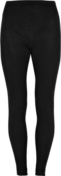 Rick Owens Ribbed-panel Cotton Leggings in Black